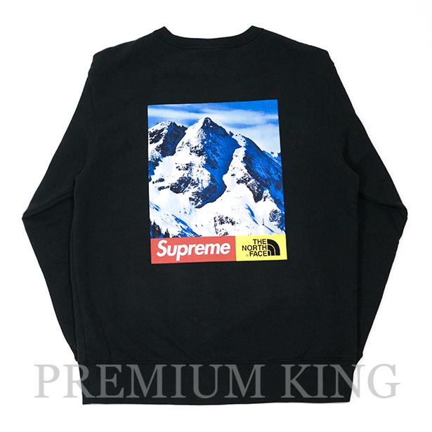 国内正規品 2017AW SUPREME × THE NORTH FACE Mountain Crewneck Sweatshirt BLACK 新品未使用品 [ シュプリーム ノースフェイス マウンテン クルーネック スウェット トレーナー ブラック 黒 ]