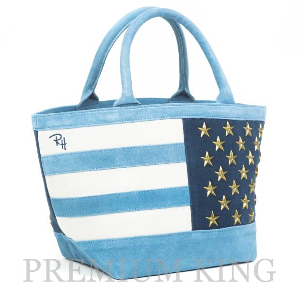 店舗限定 2017SS Ron Herman Suede American Flag Tote Bag Blue 新品未使用品 [ ロンハーマン スエード アメリカン フラッグ トート バッグ ブルー 青 ]