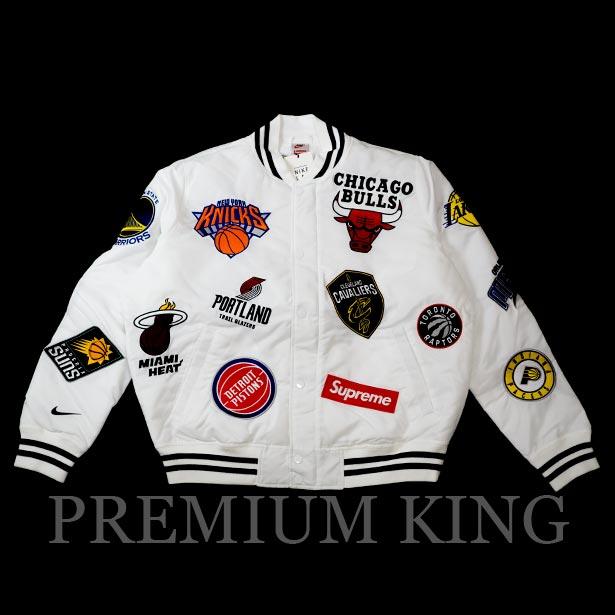 国内正規品 2018SS Supreme/Nike/NBA Satin Warm-Up Jacket White 新品未使用品 [ シュプリーム ナイキ エヌビーエー サテン ウォーム ジャケット ホワイト 白 AO3631-100 ]
