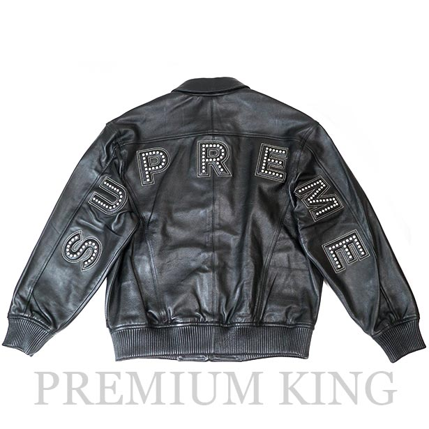国内正規品 2018SS Supreme Studded Arc Logo Leather Jacket Black 新品未使用品 [ シュプリーム スタッズ アーチ ロゴ レザー ジャケット ブラック]