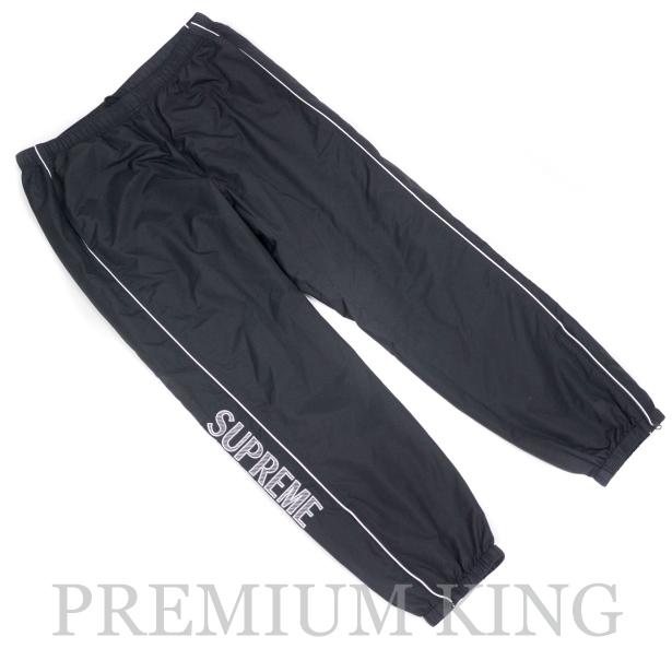 国内正規品 2017SS Supreme Striped Logo Warm Up Pant Black 新品未使用品 [ シュプリーム ストライプ ロゴ ウォームアップ パンツ ブラック 黒 ]