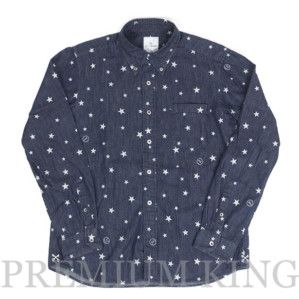 国内正規品 2014 uniform experiment STAR PRINT FLANNEL B.D SHIRT Indigo 未使用品 [ユニフォーム エクスペリメント スタープリント フランネル デニム ボタンダウン シャツ インディゴ 紺]