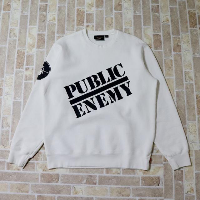 正規品 2018SS Supreme/Undercover/Public Enemy Crewneck Sweatshirt White 美中古品 [ シュプリーム アンダーカバー パブリックエネミー クルーネック ホワイト 白 ]