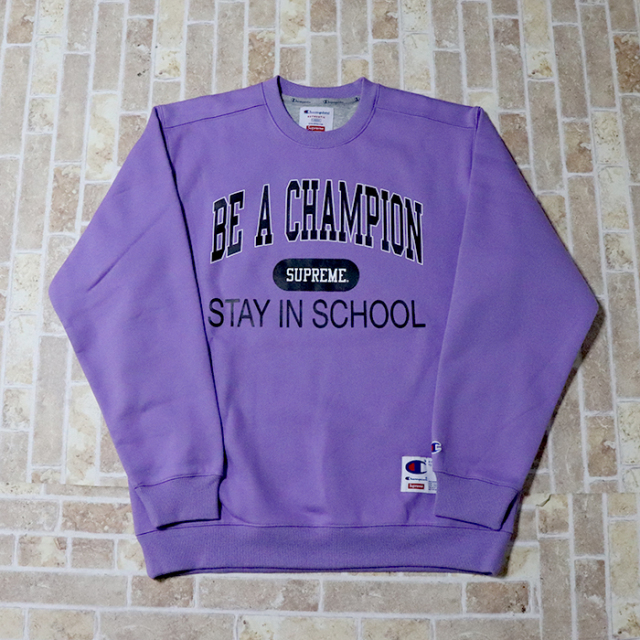2018SS 正規品 Supreme × Champion Stay In School Crewneck Light Purple 新品未使用品 [ シュプリーム チャンピオン ステイ イン スクール クルーネック ライトパープル 紫 ]