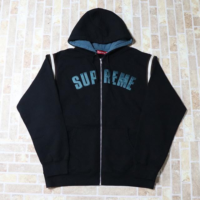 正規品 2018SS Supreme Jet Sleeve Zip Up Hooded Sweatshirt Black 新品未使用品 [ シュプリーム ジェット ジップアップ フーデッド スウェットシャツ ブラック 黒 ]