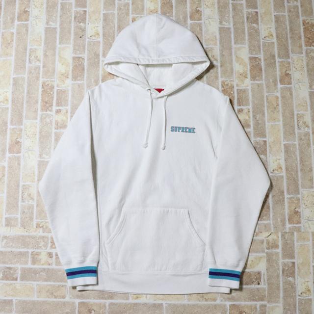 正規品 2016AW Supreme Striped Cuff Hooded Sweatshirt White 美中古品 [ シュプリーム ストライプド カフ フーデッド スウェットシャツ ホワイト 白 ]