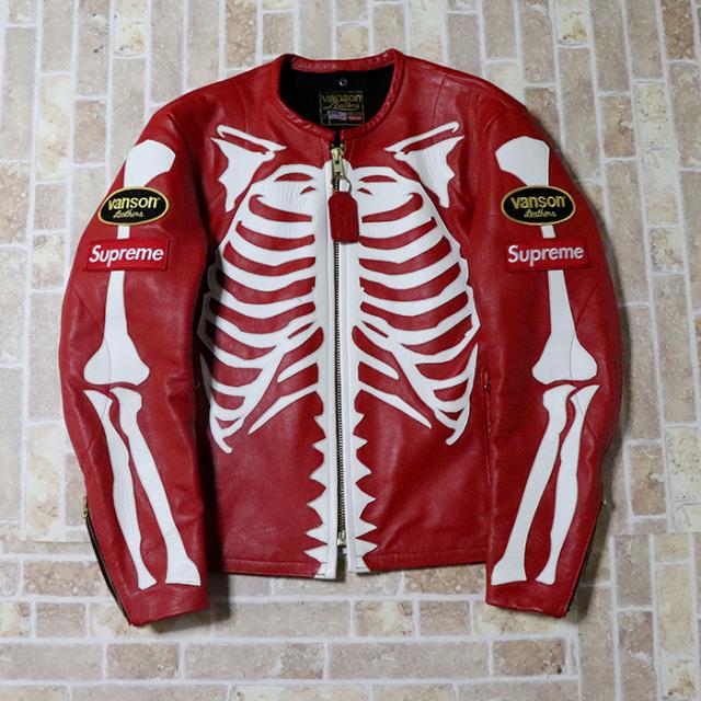 正規品 2017AW Supreme x Vanson Leather Bone Jacket Red 美中古品 [ シュプリーム ヴァンソン レザー ボーン ジャケット  レッド 赤 ]
