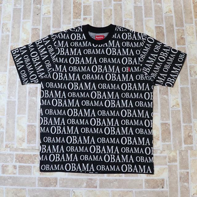 正規品 2018AW Supreme Obama Jacquard S/S Top Black 新品未使用品 [ シュプリーム オバマ ジャガード ショートスリーブ トップ ブラック 黒 TEE Tシャツ ]