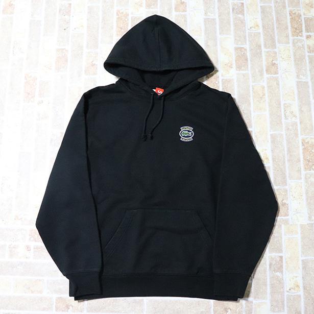正規品 2018SS Supreme × LACOSTE Hooded Sweatshirt Black 新品未使用品 [ シュプリーム ラコステ フーデッド スウェットシャツ パーカー ブラック 黒 ]