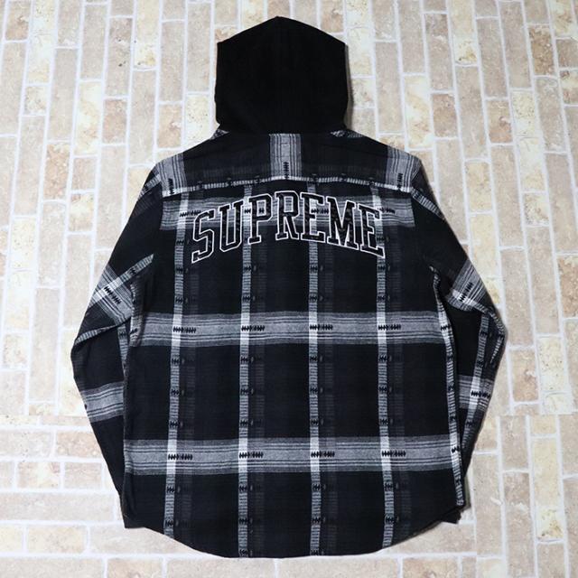 正規品 2018AW Supreme Hooded Jacquard Flannel Shirt Black 新品未使用品 [ シュプリーム フーデッド ジャカード フランネル シャツ ブラック 黒 ]