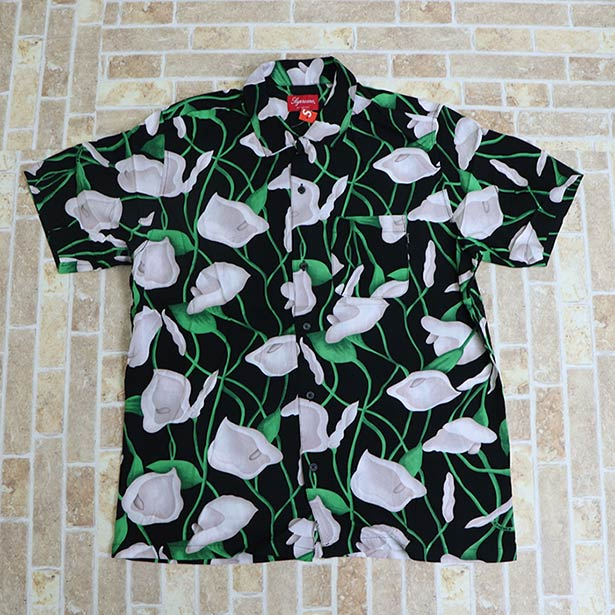 国内正規品 2018SS Supreme Lily Rayon Shirt Black 新品未使用品 [ シュプリーム リリィ レーヨン シャツ ブラック 黒 ]