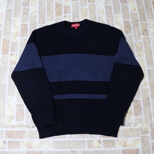 正規品 2015SS Supreme Tonal Stripe Crewneck Sweater Navy 美中古品 [ シュプリーム トーナル ストライプ クルーネック セーター ネイビー 紺 ]