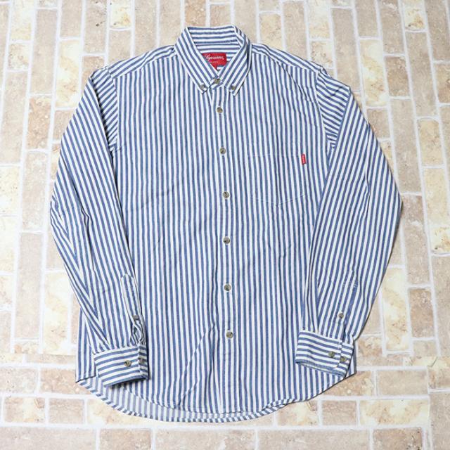 正規品 2016SS Supreme Striped Denim Shirt Blue Stripe 美中古品 [ シュプリーム ストライプ デニム シャツ ブルー ストライプ ]