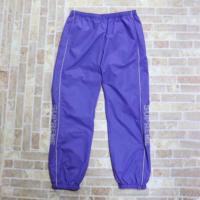 国内正規品 2017SS Supreme Striped Logo Warm Up Pant Lavender 新品未使用品 [ シュプリーム ストライプ ロゴ ウォームアップ パンツ ラベンダー 紫 ]