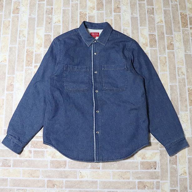 正規品 2018AW Supreme Sherpa Lined Denim Shirt Blue 新品未使用品 [ シュプリーム シェルパ ラインド デニム シャツ ブルー 青 ]