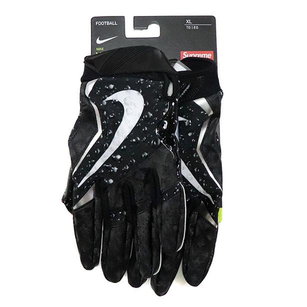 正規品 2018AW Supreme x NIKE Vapor Jet Football Glove Black 新品未使用品 [ シュプリーム ナイキ ヴェイパー ジェット フットボール グローブ ブラック 黒 ]