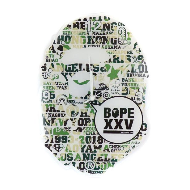 国内正規品 A BATHING APE BAPE XXV APE HEAD WALL CLOCK GREEN 1E20182188 新品未使用品 [ ベイシングエイプ ベイプ 25周年 エイプ ヘッド ウォール クロック 掛け時計 グリーン 緑 ]