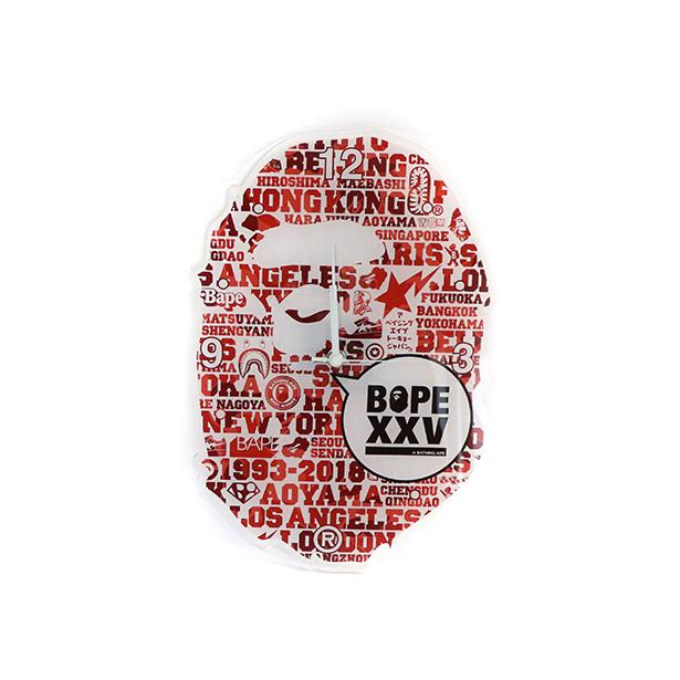 国内正規品 A BATHING APE BAPE XXV APE HEAD WALL CLOCK RED 1E20182188 新品未使用品 [ ベイシングエイプ ベイプ 25周年 エイプ ヘッド ウォール クロック 掛け時計 レッド 赤 ]