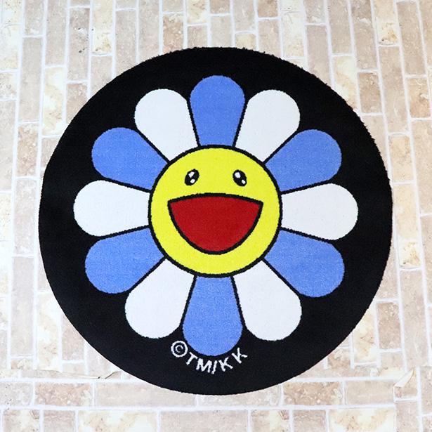 国内正規品 2018AW kaikaikiki 村上隆 Round Floor Mat (Flower) Blue × White 新品未使用品 [ カイカイキキ ラウンド フロア マット フラワー お花 ブルー ホワイト 青 白  ]