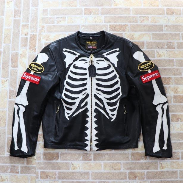 国内正規品 2017FW Supreme Vanson Leather Bones Jacket Black 新品同様品 [ シュプリーム バンソン レザー ボーンズ ジャケット ブラック 黒 ]