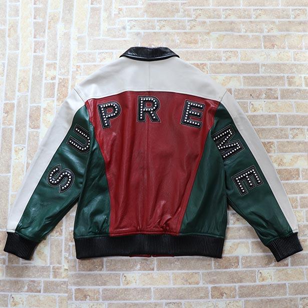 国内正規品 2018SS Supreme Studded Arc Logo Leather Jacket Red 新品同様品 [ シュプリーム スタッズ アーチ ロゴ レザー ジャケット レッド 赤 ]