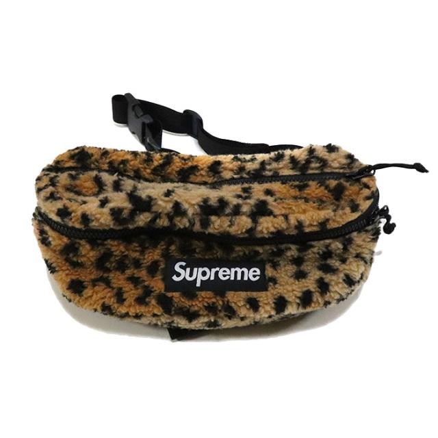 正規品 2017AW Supreme Leopard Fleece Waist Bag Yellow 美中古品 [ シュプリーム レオパード フリース ウェスト バッグ イエロー 黄 ]
