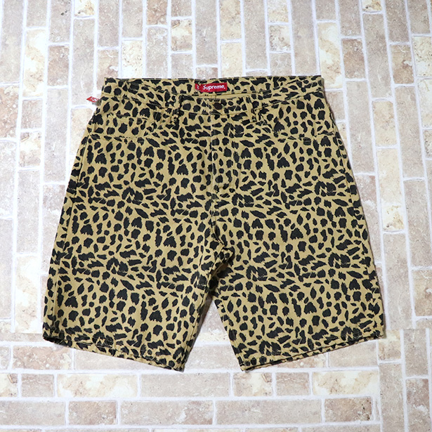 国内正規品 2017SS Supreme Washed Denim Shorts Cheetah 新品未使用品 [ シュプリーム ウォッシュド デニム ショーツ チーター 豹柄 ]