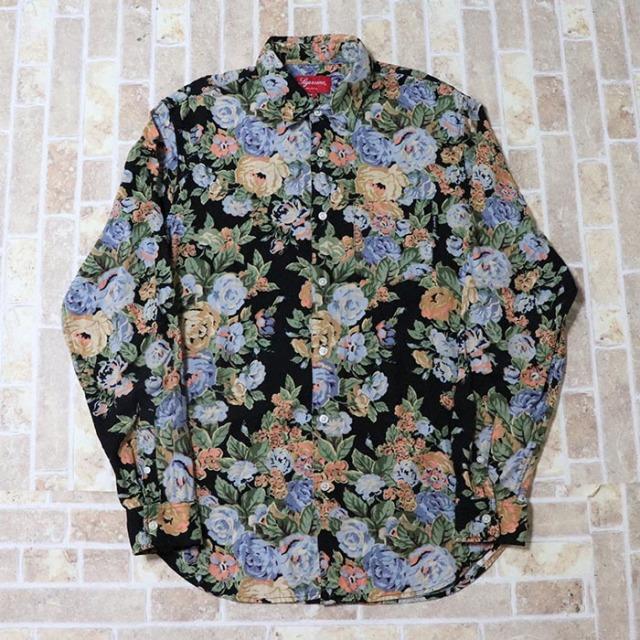 正規品 2014AW Supreme  Flowers Shirt Black 美中古品 [ シュプリーム フラワー シャツ ブラック 黒 ]