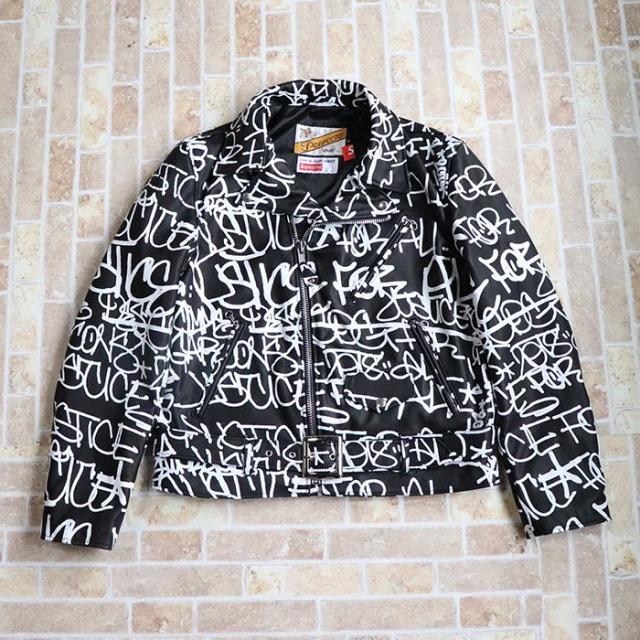 国内正規品 2018AW Supreme × Comme des Garcons × Schott Painted Perfecto Leather Jacket Black 新品未使用品 [ シュプリーム コムデギャルソン ショット ペインテッド パーフェクト レザー ジャケット ブラック 黒 ]
