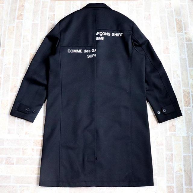 国内正規品 2018AW Supreme × Comme des Garcons Shirt Wool Blend Overcoat Black 新品未使用品 [ シュプリーム コムデギャルソン ウール ブレンド オーバーコート ブラック 黒 ]