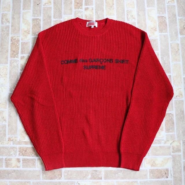 国内正規品 2018AW Supreme × Comme des Garcons Cotton Sweater Red 新品未使用品 [ シュプリーム コムデギャルソン コットン セーター レッド 赤 ]