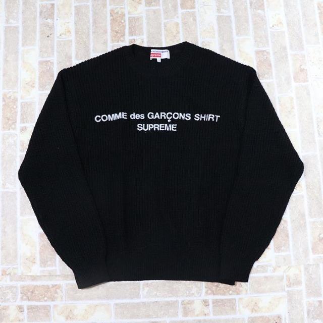 国内正規品 2018AW Supreme × Comme des Garcons Cotton Sweater Black 新品未使用品 [ シュプリーム コムデギャルソン コットン セーター ブラック 黒 ]