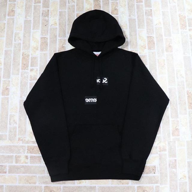 国内正規品 2018AW Supreme × Comme des Garcons Split Box Logo Hooded Sweatshirt Black 新品未使用品 [ シュプリーム コムデギャルソン スプリット ボックスロゴ フーディー ブラック 黒 ]