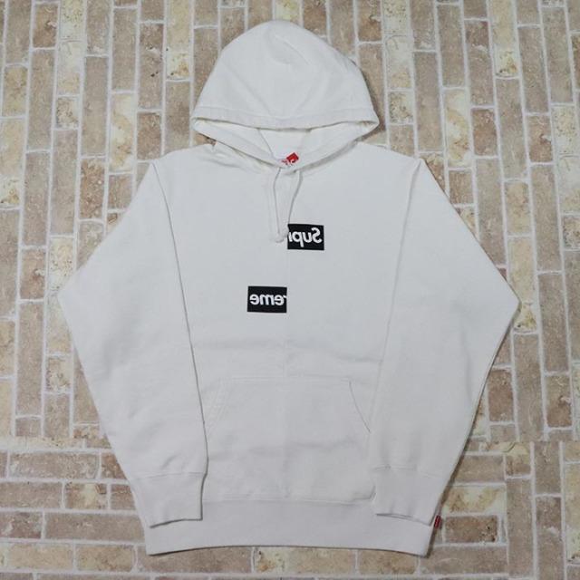 国内正規品 2018AW Supreme × Comme des Garcons Split Box Logo Hooded Sweatshirt White 新品未使用品 [ シュプリーム コムデギャルソン スプリット ボックスロゴ フーディー ホワイト 白 ]