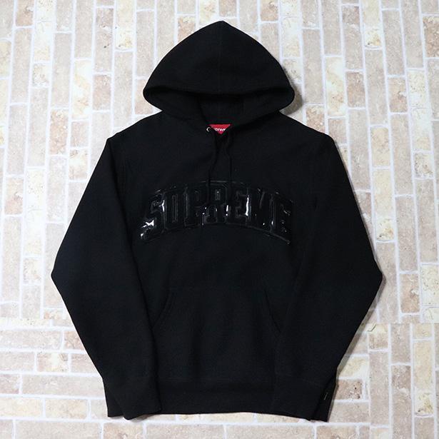正規品 2017AW Supreme  Patent/Chenille Arc Logo Hooded Sweatshirt Black 新品同様品 [ シュプリーム パテント シュニール アーチ ロゴ フーデッド スウェットシャツ パーカー ブラック 黒 ]