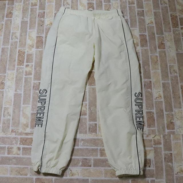 国内正規品 2017SS Supreme Striped Logo Warm Up Pant White 美中古品 [ シュプリーム ストライプ ロゴ ウォームアップ パンツ ホワイト 白 ]