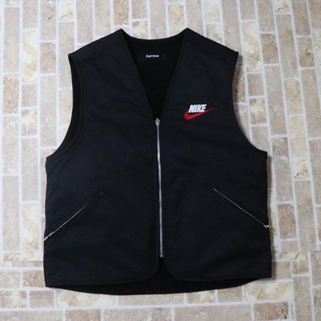 国内正規品 2018AW Supreme × NIKE Reversible Nylon Sherpa Vest Black 新品未使用品 [ シュプリーム ナイキ リバーシブル ナイロン シェルパ ベスト ブラック 黒 ]