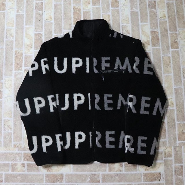 国内正規品 2018AW Supreme Reversible Logo Fleece Jacket Black 新品未使用品 [ シュプリーム リバーシブル ロゴ フリース ジャケット ブラック 黒 ]