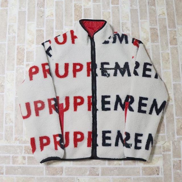 国内正規品 2018AW Supreme Reversible Logo Fleece Jacket Natural 新品未使用品 [ シュプリーム リバーシブル ロゴ フリース ジャケット ナチュラル]
