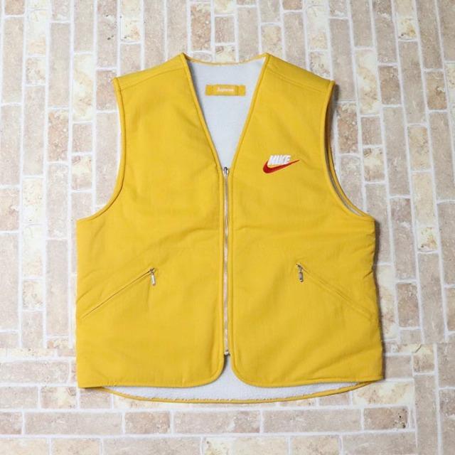 国内正規品 2018AW Supreme × NIKE Reversible Nylon Sherpa Vest Mustard 新品未使用品 [ シュプリーム ナイキ リバーシブル ナイロン シェルパ ベスト マスタード 黄 ]