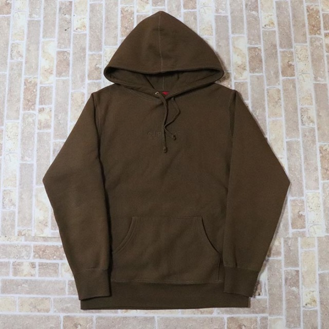 国内正規品 2015AW Supreme Tonal Embroidered Hooded Sweatshirt Olive Brown 新品未使用品 [ シュプリーム トーナル エンブロイド フーデッド スウェットシャツ オリーブ ブラウン 茶 ]