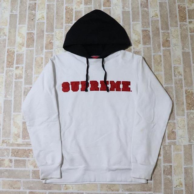 正規品 2014AW Supreme Hooded Crewneck Pullover White 中古品 [ シュプリーム フーデッド クルーネック プルオーバー ホワイト 白 ]