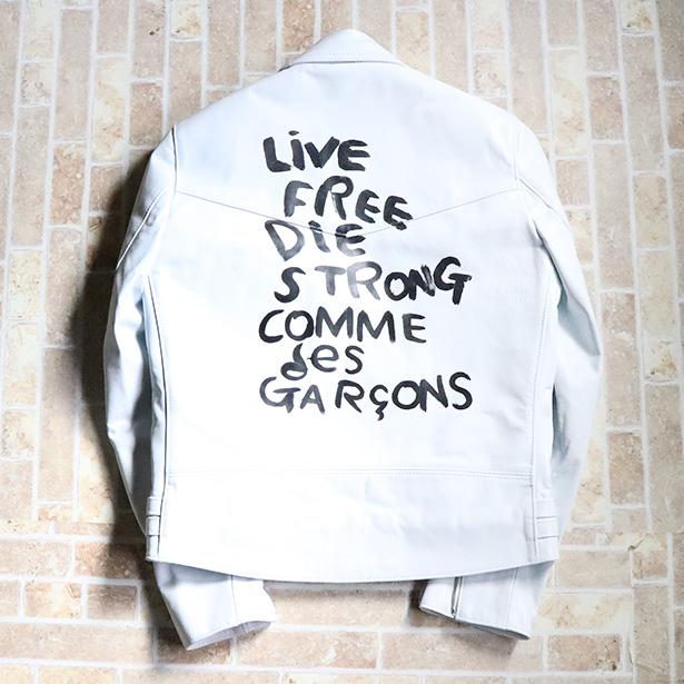 国内正規品 2018年購入最新モデル COMME des GARCONS x Lewis Leathers RIDERS JACKET WHITE 38 新品未使用品 [ コムデギャルソン ルイス レザー ライダース ジャケット ホワイト 白 サイズ38 ]
