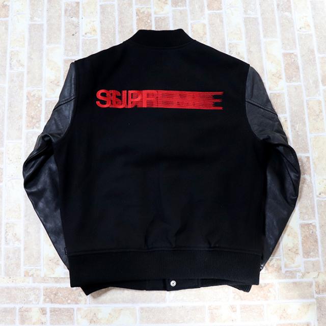 国内正規品 2018AW Supreme Motion Logo Varsity Jacket Black 新品未使用品 [ シュプリーム モーション ロゴ バーシティ ジャケット ブラック 黒 ]
