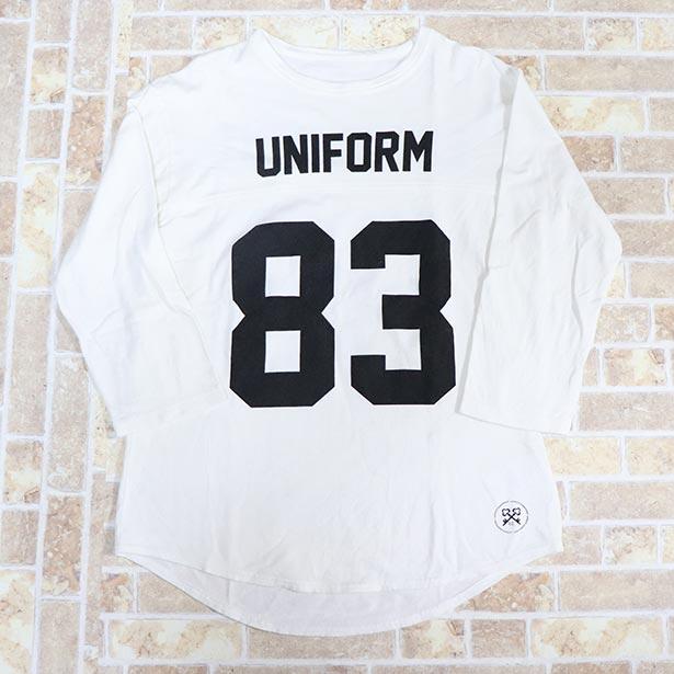 国内正規品 2017SS uniform experiment SLEEVE NUMBERING FOOTBALL TEE WHITE 美中古品 [ ユニフォーム エクスペリメント 3/4 スリーブ ナンバリング  フットボール Tシャツ ホワイト 白 ]