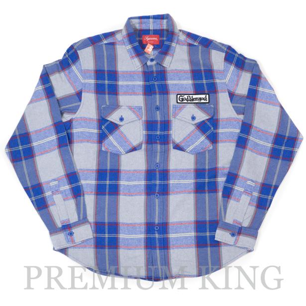 国内正規品 2017AW Supreme God Bless Plaid Flannel Shirt Blue 新品未使用品 [ シュプリーム ゴッドブレス プレイド フランネル シャツ ブルー 青 ]
