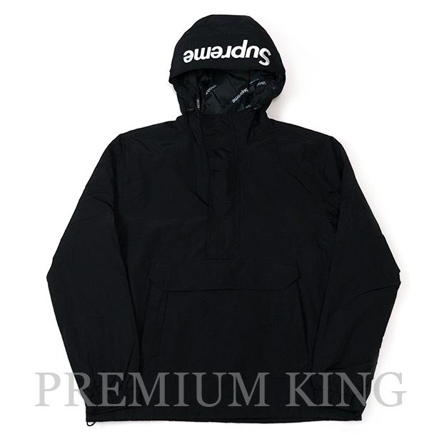 国内正規品 2017AW Supreme Hooded Logo Half Zip Pullover Black 新品未使用品 [ シュプリーム フーディー ロゴ ハーフ ジップ プルオーバー ブラック 黒 ]