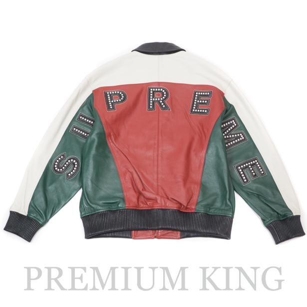 国内正規品 2018SS Supreme Studded Arc Logo Leather Jacket Red 新品未使用品 [ シュプリーム スタッズ アーチ ロゴ レザー ジャケット レッド ]