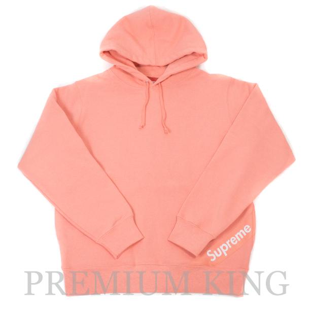 国内正規品 2018SS Supreme Corner Label Hooded Sweatshirt Coral 新品未使用品 [ シュプリーム コーナー ラベル フーディー パーカー コーラル ピンク]