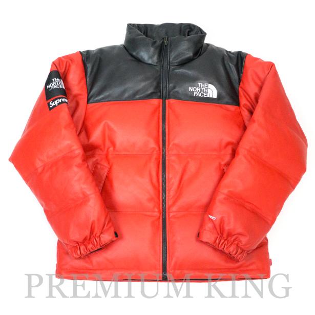 国内正規品 2017FW SUPREME × THE NORTH FACE Leather Nuptse Jacket Red 新品未使用品 [ シュプリーム ノースフェイス レザー ヌプシジャケット レッド 赤 ]